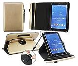 Emartbuy® CSL Panther Tab 7 Zoll Windows Tablet Universal (7-8 Zoll) Metallic Gold PrämiePULeder360GradrotierendeStandFolioGeldbörseTascheHülle + Schwarz Eingabestift