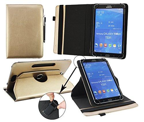 Emartbuy® Blaupunkt Polaris QC Tablet 7.85 Zoll Universal (7-8 Zoll) Metallic Gold PrämiePULeder360GradrotierendeStandFolioGeldbörseTascheHülle + Schwarz Eingabestift