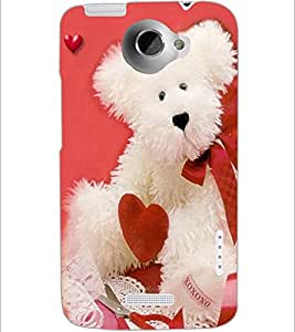 PrintDhaba Teddy with Heart D-1004 Back Case Cover for HTC ONE X (Multi-Coloured)
