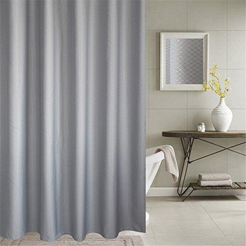 Duschvorhang Anti-Schimmel & Wasserdicht 100% Polyester Badezimmer Duschvorhang mit verstärktem Saum, mit Haken 120/150/180/200 x 200cm, Grau/Blau (180x200cm, Grau)