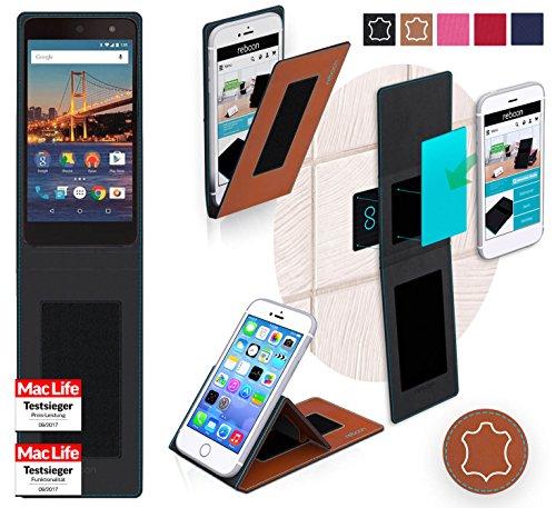 reboon Hülle für General Mobile 4G Tasche Cover Case Bumper | Braun Leder | Testsieger