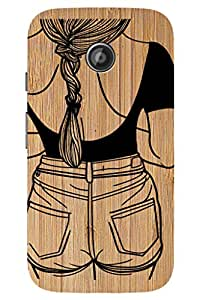 SRS Woman Line Design On Wood 3D Back Cover for Motorola New Moto E 2nd Gen