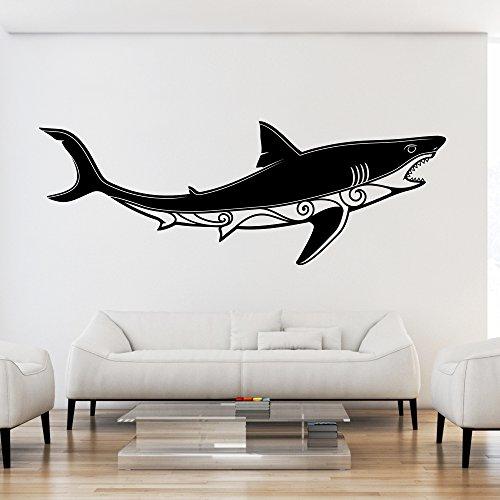 malango® Wandtattoo Haifisch Wanddekoration Wand Tattoo Hai Fisch Tier Meer Meerestier Dekoration ca. 120 x 42 cm Gold (Tier Tattoos Meer)