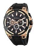 Ray Winton Herren-Multifunktionsuhr, schwarzes Zifferblatt, schwarzes Silikon-Armband, mit zwei Zeitanzeigen