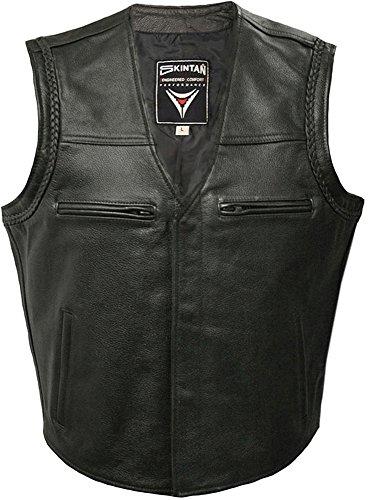 Gilet in pelle in nero da Skintan-bobbie Black XXX-Large