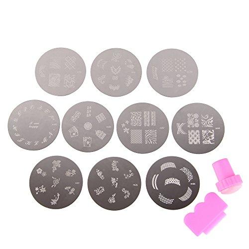 Beauty7 10 x Nailart Nail Art Stamping Metallplatten Schablonen Fingernagel 70 Mixed Designs mit Stamp & Scraper Tool