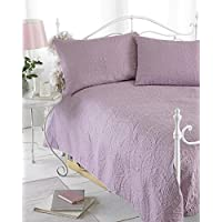 Dusky Pink Reversible Embossed Quilted Bedspread, Parisienne, Includes 2 Pillowshams, 240cm x 260cm, Double/King