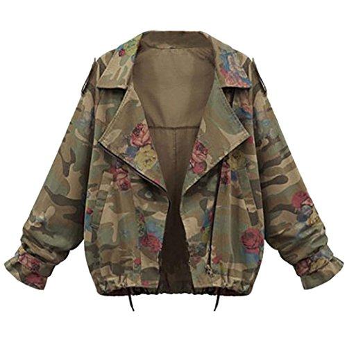 Damen Jacke ,Honestyi Frauen Plus Größe lose Batwing Ärmel Camouflage Jacke Mantel Outwear (L, Camouflage)