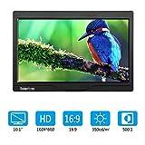 10 Zoll Monitor 1280x600 IPS Tragbarer LCD HD Bildschirm Monitor mit VGA HDMI Audio Ports mit Lautsprecher für DSLR, Haus Sicherheit, CCTV Kamera, PC
