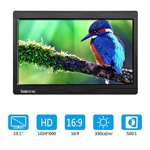 10 Zoll Monitor 1280x600 IPS Tragbarer LCD HD Bildschirm Monitor mit VGA HDMI Audio Ports mit Lautsprecher für DSLR, Haus Sicherheit, CCTV Kamera, PC (Hd-lcd-bildschirm)