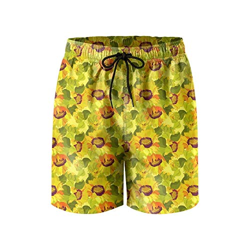 ZKHTO Novelty Oil Painting Colorful Sunflowers Floral Quick Dry Men Beach Short,Shorts Size M -