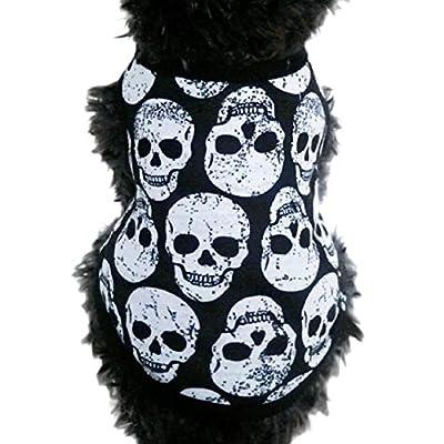 FEITONG Pet Puppy Small Dog Cat Pet Clothes Skull Vest T-Shirt Apparel Clothes