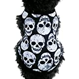 FEITONG Pet Puppy Small Dog Cat Pet Clothes Skull Vest T-Shirt Apparel Clothes (S, White)