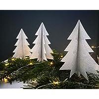 """3er-Set Deko""""großer Tannenbaum"""" aus silbernem Glitzerpapier/Tischdeko/Weihnachtsdeko/Christbaum/Weihnachtsbaum"""