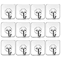 KWT Pack of 10Pcs Self Adhesive Wall Hooks, Heavy Duty Sticky Hooks for Hanging 10KG (Max), Waterproof Transparent…