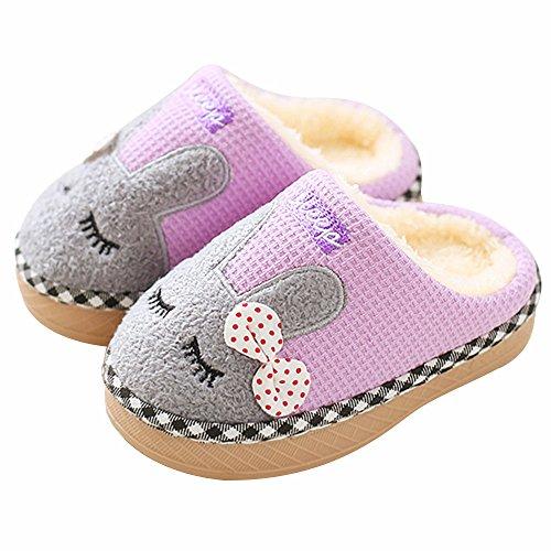 SITAILE Jungen Mädchen Winter Pantoffeln Slippers Schuhe mit Plüsch gefüttert Wärme Weiche Rutschfeste Hausschuhe Für Kinder Baby Home Lila 22/24