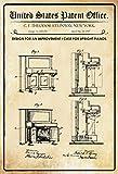 United States Patent Office - Design for an Improvement Case for Upright Pianos - Entwurf für einen verbesserung des Klavier - Steinway - 1907 - Design No 855143 - metal sign blech garten deko schild