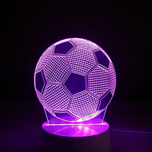 3D Illusion LED Nachtlicht, 7 Farben Blinklicht, Fernbedienung USB Powered, Schlafzimmer Schreibtischlampe, für Kinder Geschenke Dekoration Ideal Kunst und Handwerk (Fußball)