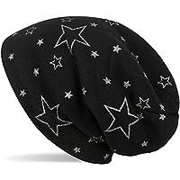 styleBREAKER warme fijn gebreide muts met glitterige metallic sterrenprint, fleece voering, slouch longbeanie, dames 04024125, Farbe:Zwart
