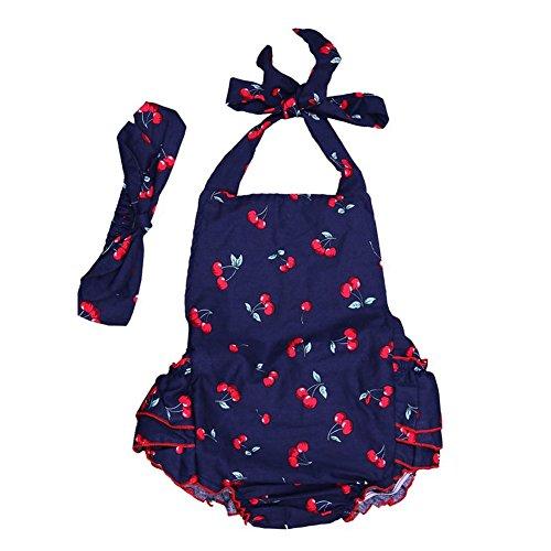 TININNA Mignon Fille Enfant Ensemble d'été sans Manches Set en 1pcs Jumpsuits +1 pcs Fleur Bandeau Marine M Taille