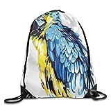 KAKICSA Unisex Gym Bag Painting Style Parrot Profile Exotic Creature Tropical Nature Theme Drawstring Gym Sack Sport Bag for Men and Women