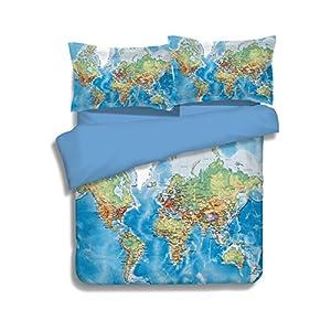 Mapa del mundo ropa de cama conjuntos 100poliéster–MeMoreCool detallada alta Claro Diseño Gran decoración para el hogar no Filler sábana bajera ajustable (doble