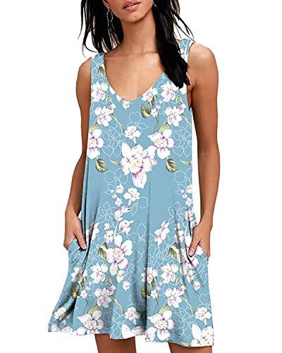 ABRAVO Sommerkleid Damen T-Shirt Kleider Casual Lose Tunika Kurzarm Boho Ärmellos Blumen Strand Kleider mit Taschen (XL=EU 40-42, S-Hellblau) (Kleid ärmelloses Legeres)