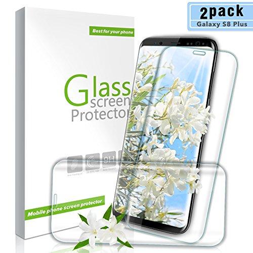 Youer Galaxy S8 Plus Panzerglas Schutzfolie, [2 Stück] HD Ultra Klar Gehärtetem Glas Displayschutzfolie, Anti-Kratzer, 9H Härte, Anti-Fingerabdruck, Blasenfreie, für Samsung Galaxy S8 Plus