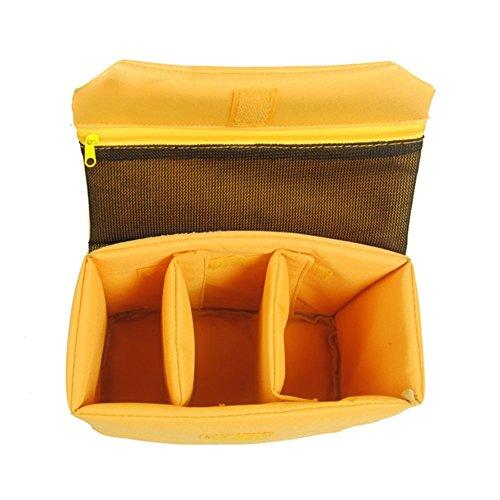 GenialES Organizador Acolchado Protector Antichoques para Cámaras SLR DSLR Bridge CSC con 2 Separadores Desmontables para Bolso Morral Viajes Amarillo M: