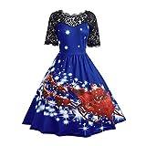 Riou Weihnachten Kleid Damen Spitzenkleid Elegant Abendkleid Vintage Gedruckt Xmas Grosse grössen Knielang Cocktailkleid Swing Kleider (L, Blau)
