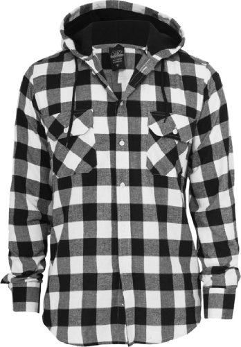 Urban Classics Hooded Checked Flanell Chemise Blac Noir/blanc