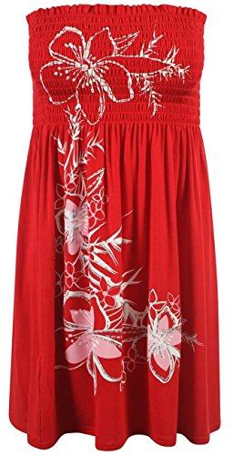 Floral Glitter Strass Schaukel Damen-Bustier Damen Mini Kleid Bandeau Top Kräuselband Teilen 34-46 (8-20) Red - Glitter Flower Butterfly