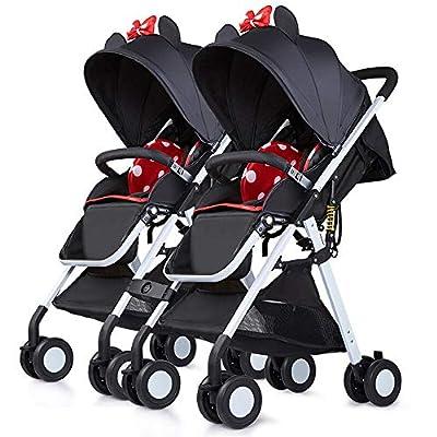 Saturey Cochecito de bebé en tándem, Cochecito Doble, Carrito Infantil con Respaldo Ajustable, reposapiés, Cinturones de Seguridad de 5 Puntos, Plegado Ligero