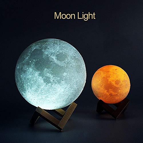 ALOPW 3D Mond Lampe 3D Druck wiederaufladbar Mond LED Nachttischlampe Schlafzimmer Tischlampe Home Decor Geburtstag Geschenk White 8 cm -
