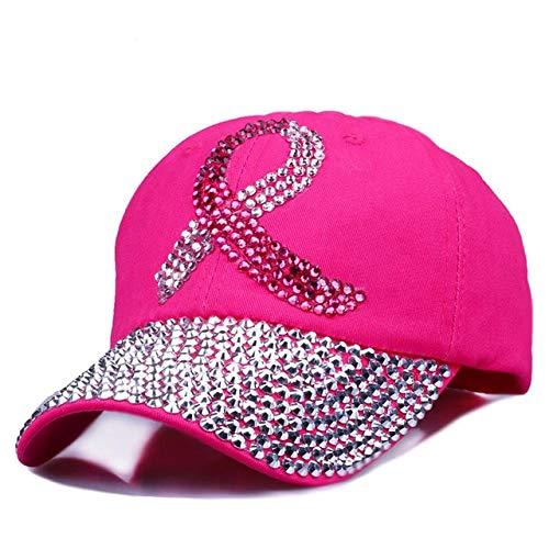 HONGHENG Farbige Band-Frauen Verzierten Kristalle Rhinestones Sequins-Baseballmütze-Rosa-Swag-Art Und Weise Bling Beiläufiger Hut-Weibliche Im Freienhüte Rosa Rosen Swag