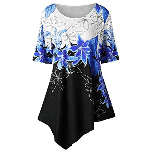 OVERDOSE Mode Kausal Damen Sommer Tops Große Größe Frauen Blumen Druck T-Shirt Kurzarm Casual Lang Bluse Oberteile(Blau,XXL)