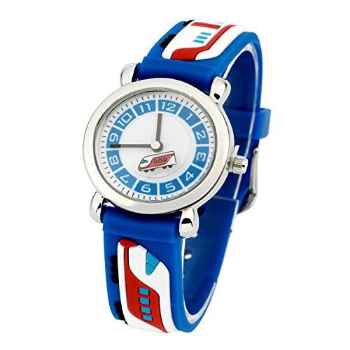 Kinderuhr Silikon Armband Uhr Wasserdichtes 3D lieblich Tiere Cartoon Digital Armbanduhr Zeit Lehrer Geschenk für Kinder kleine Mädchen Jungen (Blau U-Bahn)