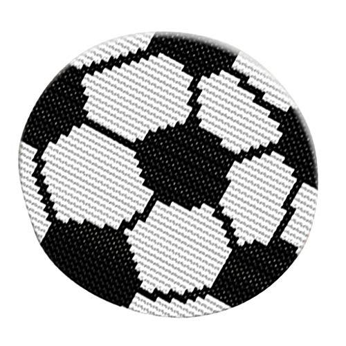 non-brand Baoblaze Knüpfteppich Formteppich Stuhlkissen Knüpfset für Kinder und Erwachsene zum Selber Knüpfen Teppich Rund, Latch Hook Rug Kit - Fußball