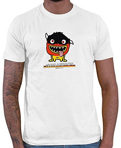 HARIZ  Pixbros Collection Herren T-Shirt Weiß Designs Wählbar Deutschland Trikot WM EM Fahne Inkl Urkunde Bang Sticks Pixbros14: Schlandmon L