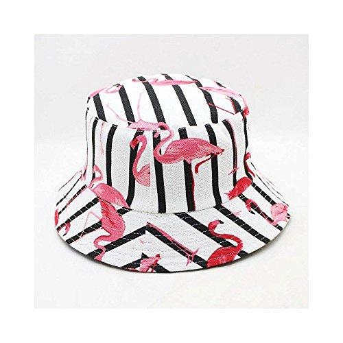 JUNHONGZHANG Flamingo Tierdruck Bucket Hat Fisherman Hat Outdoor-Reisen Hut Sun Cap Hüte Für Männer Und Frauen, Weiß