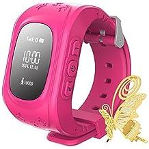 ILov inteligente reloj de pulsera GPS Tracker JM11 para Niños localizador SOS Voz monitor Intercom (Rosa)