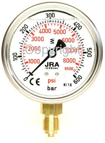 600 Psi Manometer (JRA-Longlife-Glyzerin-Manometer 0-600 bar/psi NG63 Anschluss unten G1/4