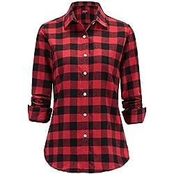 Dioufond Camisas Mujer Cuadros de Manga Larga Camisetas Mujer(Rojo-1 L)
