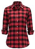 Dioufond® Classics Damen Slim Kariert Langarm Bluse Freizeit Hemd Longshirt Baumwolle Button-down Tunika(Tag L/EU S, Rot_2)