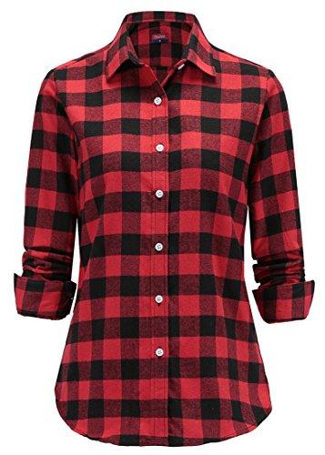 c63ec5aa61 Dioufond Camisas Mujer Cuadros de Manga Larga Camisetas Mujer(Rojo-1 5XL)