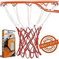 Mejor línea Premium calidad profesional baloncesto Net (all-weather resistente grueso 12Loops), Rojo, blanco