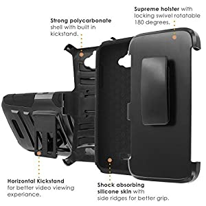 [Coolpad Catalyst] Defender Cover [ArmorXtreme] [Black/Black] Heavy Duty Warrior [Holster] [Kick Stand] - [Red Skull] for Coolpad [Catalyst]