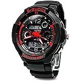 Digital-analog Boys Girls Sport Digital Watch with Alarm Stopwatch Chronograph - 50m Water Proof (Red)
