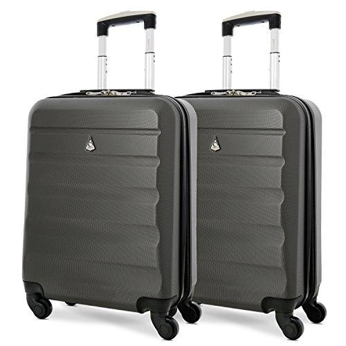 Aerolite 55x40x20 Ryanair Taille Maximale 40L ABS Bagage Cabine Bagage ˆ Main Valise Rigide LŽgere ˆ 4 roulettes, s'adapte ƒgalement ˆ Easyjet, Lufthansa, Monarch Plus, Set de 2, Gris FoncŽ
