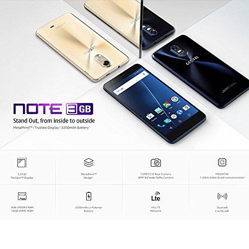 Geotel Note Smartphone 5 5inch Pantalla Android 6 0 MTK6737 1 25GHz 3GB RAM 16GB ROM 8 0MP 5 0MP C  mara 3200mA bater  a Dual SIM GPS OTA